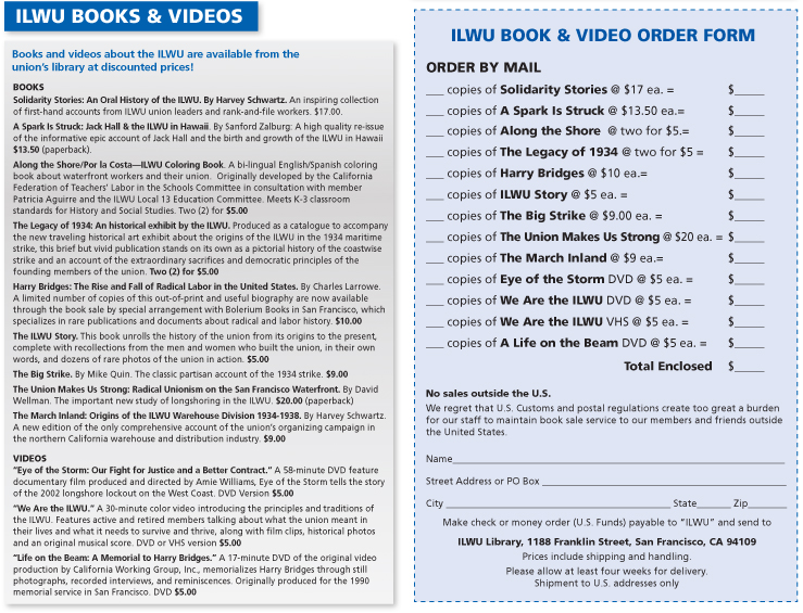 books and video order form