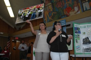 Organizing for safety: Recycling workers Xiomara Martinez (right) and Alejandra León, explained how co-workers organized to eliminate a nasty rat infestation at their Davis Street workplace in San Leandro, CA. The problem was ignored by Waste Management officials until workers took action.