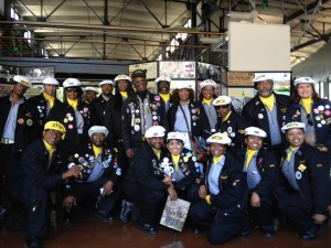 Loud & proud: Local 10's Drill Team was invited by the Port to perform their snappy routine on April 28th. Local 10 President Mike Villeggiante (far left) was asked to speak on behalf of ILWU members from throughout the Bay Area.