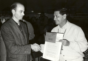 Don Watson (left) with UFW leader Cesar Chavez.