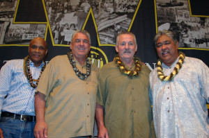 ILWU's leadership team: Delegates at the ILWU's 36th International Convention held in Hawaii on June 8-12 adopted resolutions and nominated officers to lead the union for the next three years. The International Officers nominated were (L-R) Secretary-Treasurer Willie Adams, Vice President (Mainland) Ray Familathe, President Robert McEllrath and Vice President (Hawaii) Wesley Furtado. These four, plus candidates for the International Executive Board and Coast Committeeman positions, will stand for election this summer. Ballots will be mailed on July 27.