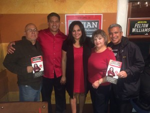 Candidate support: Malauulu was determined to build a team of campaign volunteers and treat them as family. (L-R) Sal Pardo from the ILWU Southern California District Council; Vivian's father George; newly-elected College Board Trustee Vivian Malauulu; her mother Gloria and Local 13 ILWU Political Action Committee member David Serrato.