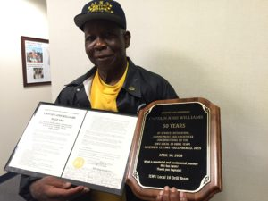 Top honors: Longtime Local 10 member and active pensioner Josh Williams was honored for founding and leading the famous ILWU Drill Team.