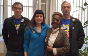 Seeking pro-union votes in Pennsylvania: The ILWU's team in PA worked hard but despite their best efforts, pro-union candidate Katie McGinty was unable to prevail in her bid for the U.S. Senate. While voters in Philadelphia County backed pro-union candidates by more than 80%, support was lacking statewide, especially in smaller towns and more rural areas. (L-R) Team leader Dane Fredericks from Local 5, Ali Vekich from Local 19, Philly AFL-CIO staffer Thelma Clements and IBU member Gary Bucknum.