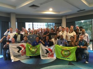 Global strength: Dozens of union activists representing Rio Tinto workers around the world gathered recently in Brisbane, Australia to coordinate strategy against the mammoth mining company.